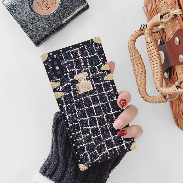 SZYHOME Phone Cases for Iphone X 6 7 8 Plus Luxury Fashion Classical Pretty Glitter Metal Square Lattice Phone Cover Accessories