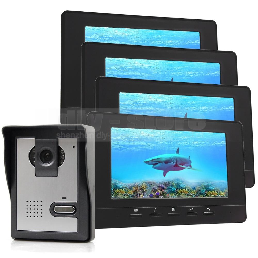 DIYSECUR 7inch Video Intercom Video Door Phone Doorbell 600 TVLine IR Night Vision Camera 4 Monitors