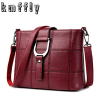 KMFFLY Red Thread Women Shoulder Bags Designer PU Leather Messenger Bags Female Luxury Casual Flap Crossbody