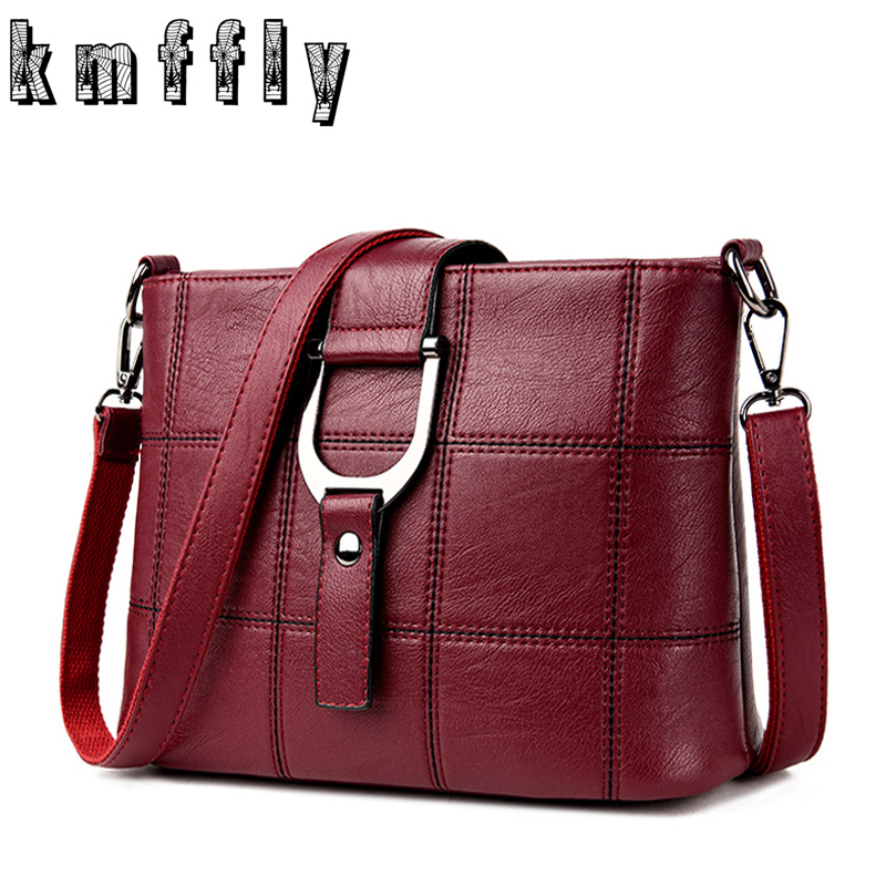 KMFFLY Red Thread Women Shoulder Bags Designer PU Leather Messenger Bags Female Luxury Casual Flap Crossbody Bags Bolsa Feminina