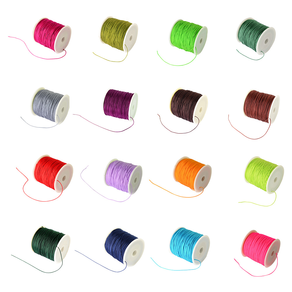 100Yard(91m)/Roll 0.8mm Braided Nylon Cord Imitation Silk String Thread Beading String DIY Jewerly Necklace Findings