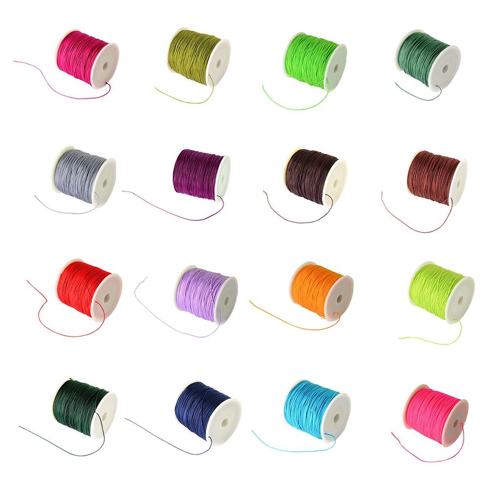 100Yard(91m)/Roll 0.8mm Braided Nylon Cord Imitation Silk String Thread Beading String DIY Jewerly Necklace Findings