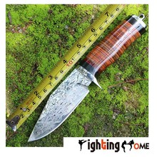 Fighting home Damascus hunting knife 60HRC stainless steel leather handle camping hunting knife EDC tools Free shipping