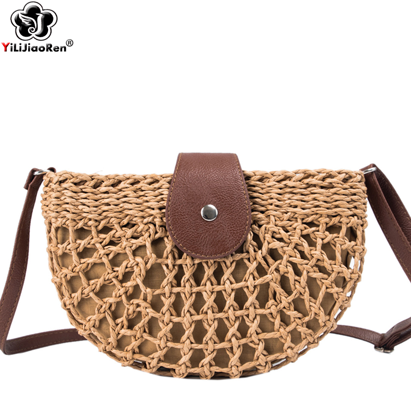 Fashion Handmade Rattan Woven Straw Bag Summer Beach Bags for Women 2019 Bohemia Messenger Crossbody Bags for Girls Clutch Purse in Shoulder Bags from Luggage Bags
