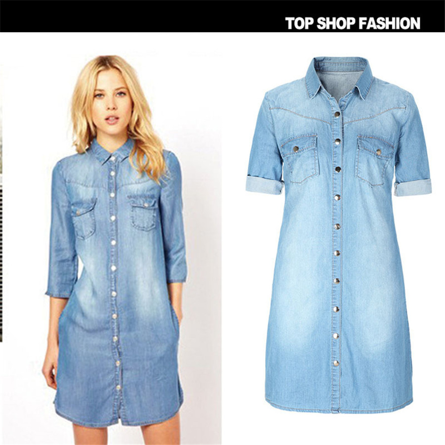 2016 Size Denim Dress Jeans Women S Casual Spring Style Dresses Sizes Party Personality Loose Robe In From Clothing