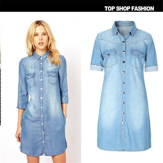 2016 grande taille denim robe Jeans de Femmes casual Printemps Style Denim  Robes grandes tailles Partie