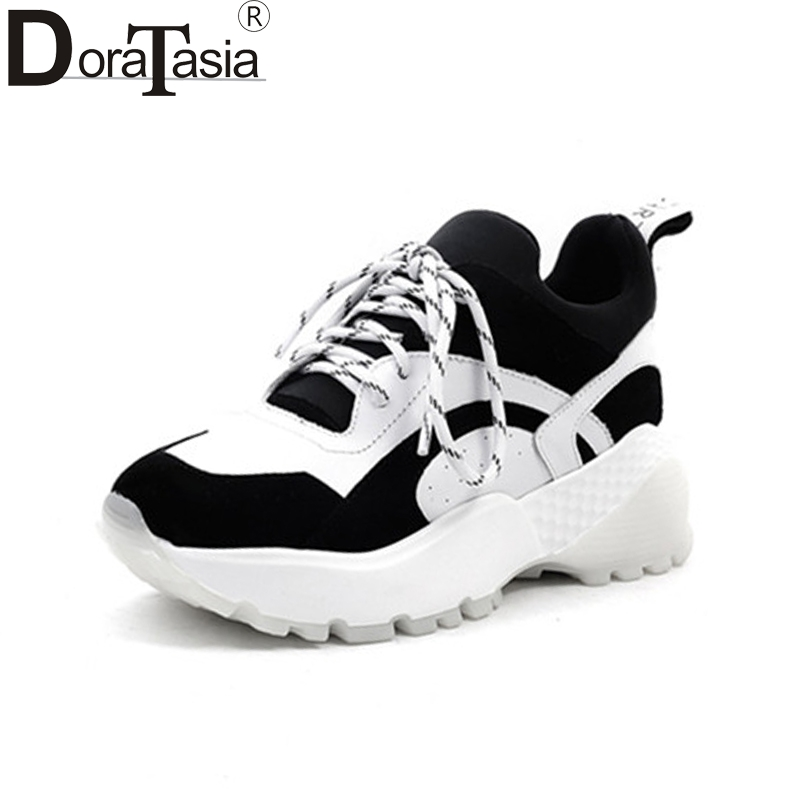 DoraTasia New Fashion Genuine Leather Mixed Colors lace-up Popular Shoes Woman Casual Spring Sneakers Flats Size 35-39