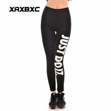 New 9094 Sexy Girl Workout Pants Fashion Black White Just Do It Dot Letter Printed Elastic Slim Fitness Women Leggings Plus Size