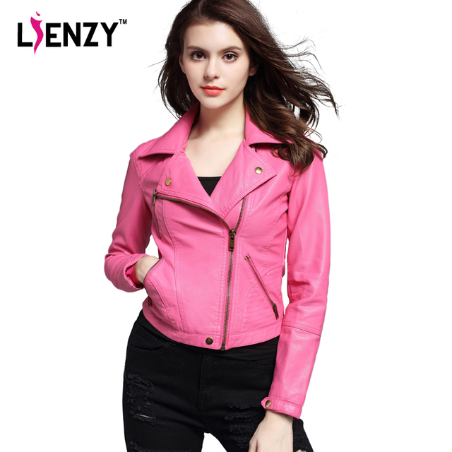 LIENZY Spring Crop Motorcycle Jacket Pink/Black Lapel Oblique ...