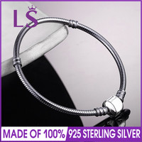 LSLuxury 100 925 Sterling Silver Oxidized Silver Charm Bracelet Clear CZ For Women Fit Original Beads