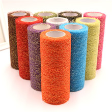 6Inch*10Y Tulle Roll Gold Wire Tissue DIY Handicraft Wedding Party Decoration Organza Sheer Decorative Flower
