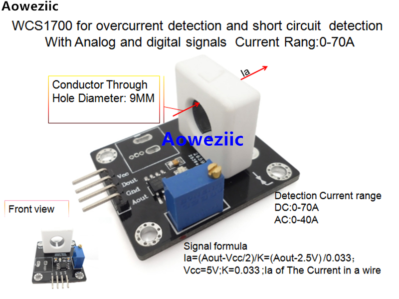 WCS1700 for overcurrent detection and short circuit detection With Analog and digital signals Current Rang:0-70A  0.033V/1AWCS1700 for overcurrent detection and short circuit detection With Analog and digital signals Current Rang:0-70A  0.033V/1A