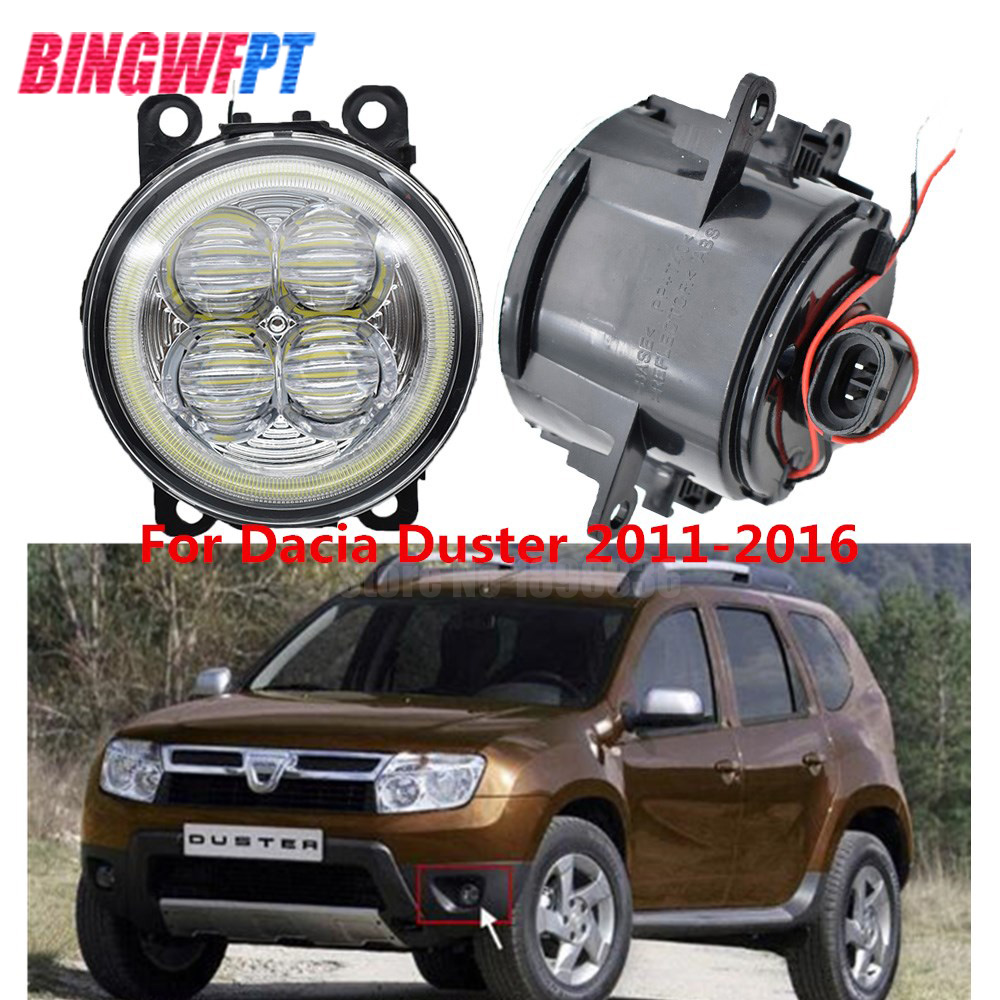 2x Car Styling White Blue Angel Eyes LED Fog Light Round Bumper Lamp For Dacia Duster