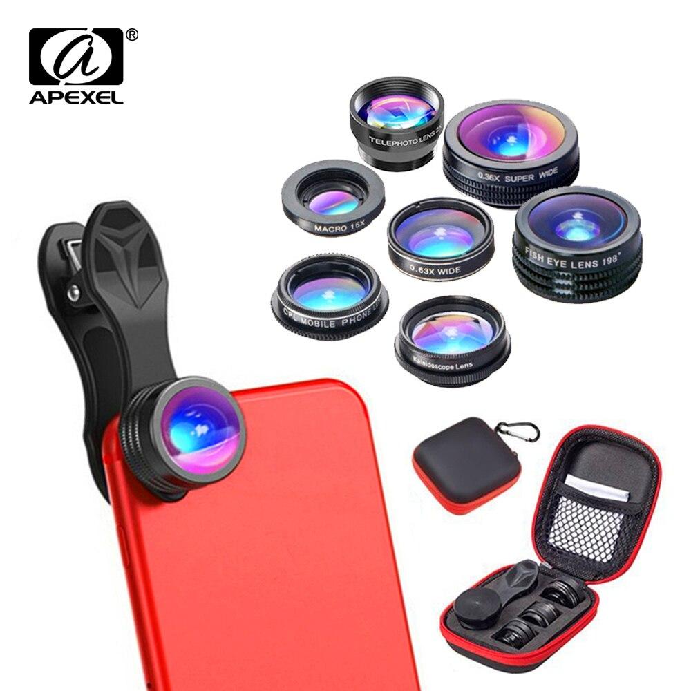 APEXEL 7 en 1 Teléfono Lente de La Cámara Kit Ojo de Pez de Ancho gran angular/macro Lente CPL Caleidoscopio y 2X Lente zoom telefoto para iPhone6s 7DG7