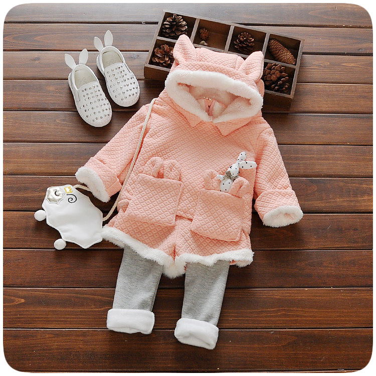 Warm Winter Baby Girls Infants Kids Velvet rabbit ear Hooded Thicken Pullovers Outwear Tops+ Pants 2pcs Clothing Set Suits envsoll winter warm baby kids girls