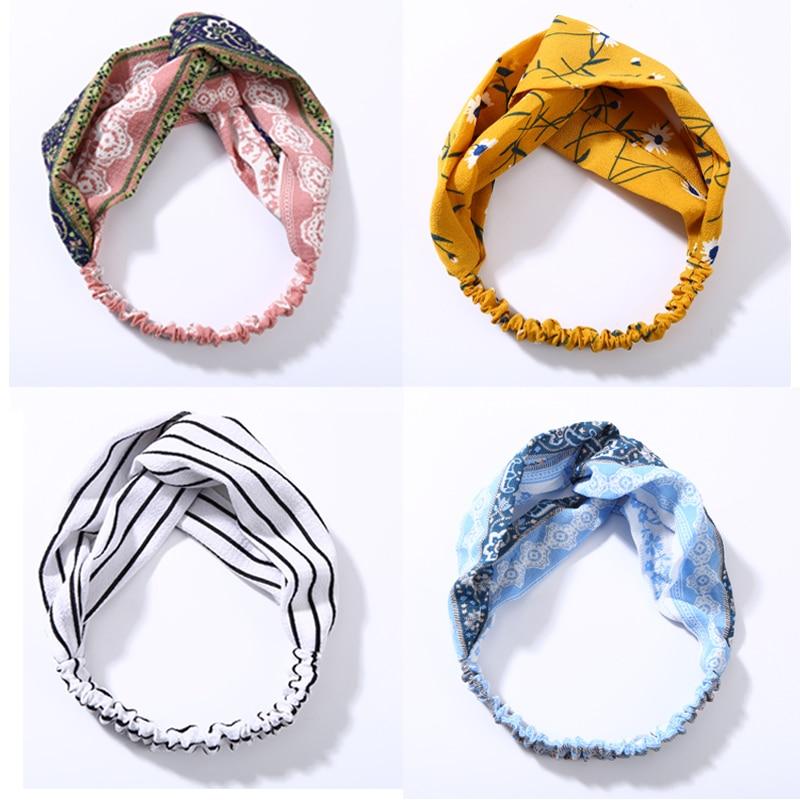 2018 Women Hair Accessories Stretch Twist Headband Stripes Turban Hair Bands Sport Yoga Head Wrap Bandana Lady   Headwear