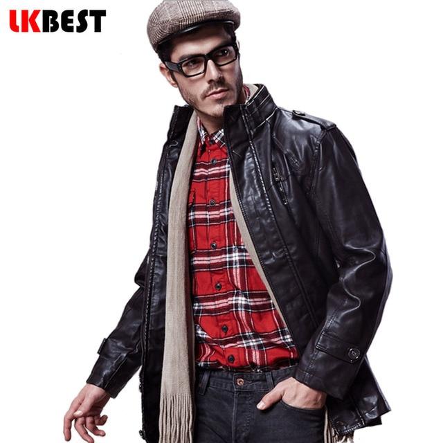 LKBEST 2017 New men leather jacket winter warm long mens leather jackets and coats PU motorycle jacket men brand clothing (PY08)