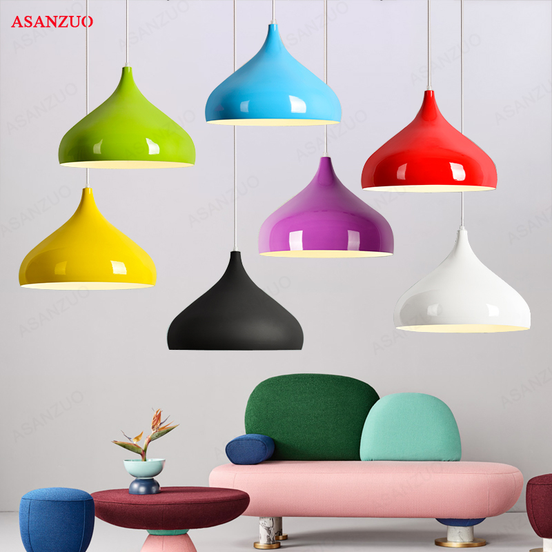 Modern Colorful Aluminum pendant lights Industrial hanging lighting Bar Loft Pendant Lamp dining room DIY Lamp shades  E27Modern Colorful Aluminum pendant lights Industrial hanging lighting Bar Loft Pendant Lamp dining room DIY Lamp shades  E27
