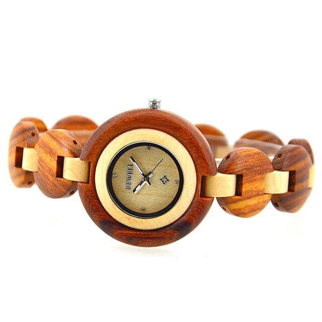 BEWELL Wood Watch Vintage Bamboo Design Women Watches Exquisite wooden Ladies Quartz Watch Clock Wristwatch With Gift Box 010A 2