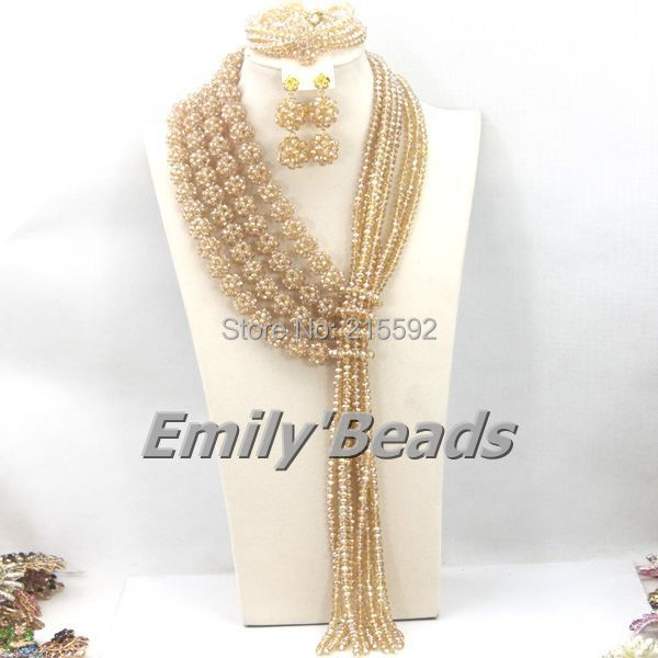 Oro africano Sistemas de La Joyería Nupcial de La Boda de Nigeria AEJ426 Collares de Perlas de La Joyería de 2015 Nueva Manera Del Envío Libre