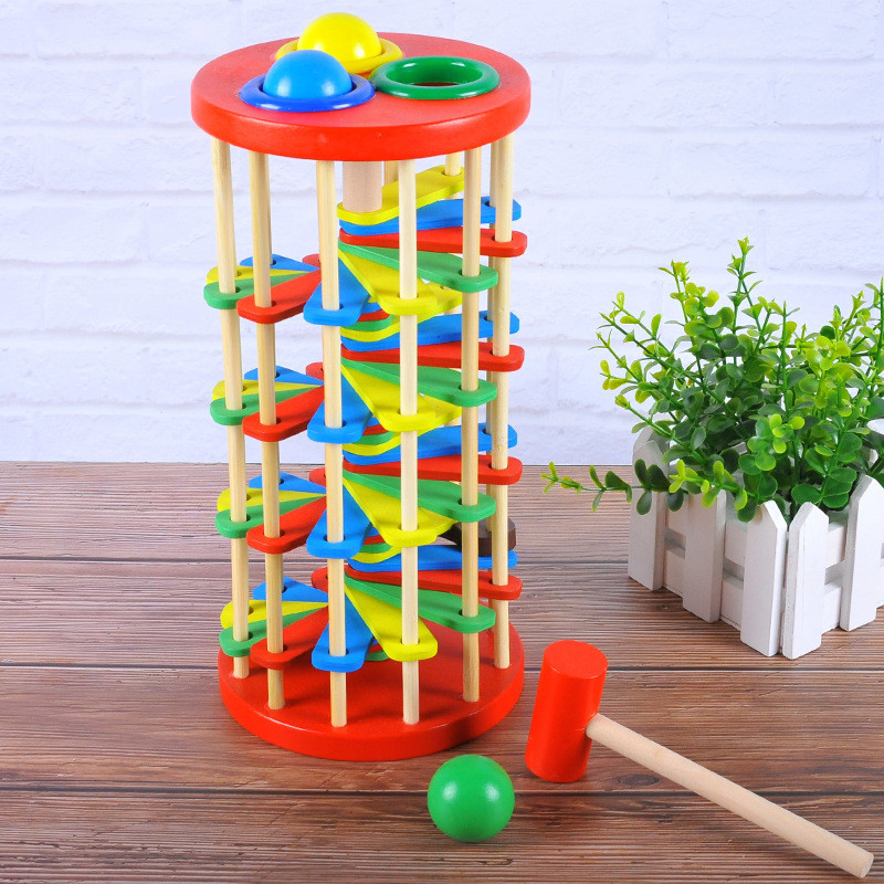 Wooden Knocking Rotating Baby Playing Table Children's Hand Eye Coordination Sensory Toys Montessori Juguetes Educational Toys   - title=