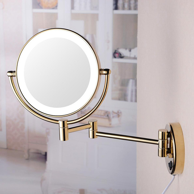 With Light Beauty Mirror Folding Glass Bathroom Simple Hotel