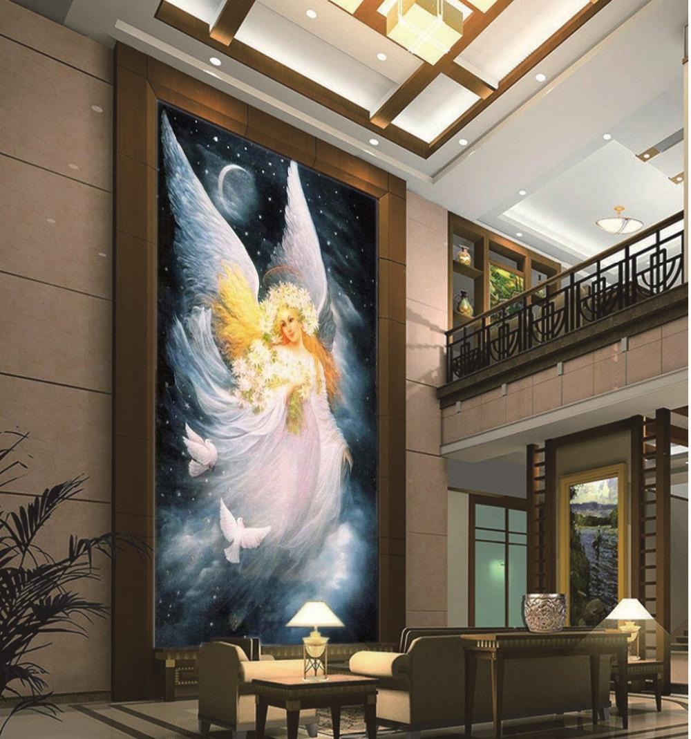 Красивая луна фея карту оптовая HD печати обои для веранды комнатный, прикрыльцовый фоне стены Декоративные Расписные обои