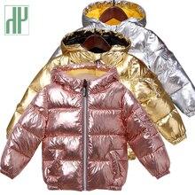 HH casacos para meninos, jaquetas de inverno, casaco de algodão acolchoado para crianças, à prova dágua, traje de neve, com capuz, rosa, dourado, prata, parka, para meninas
