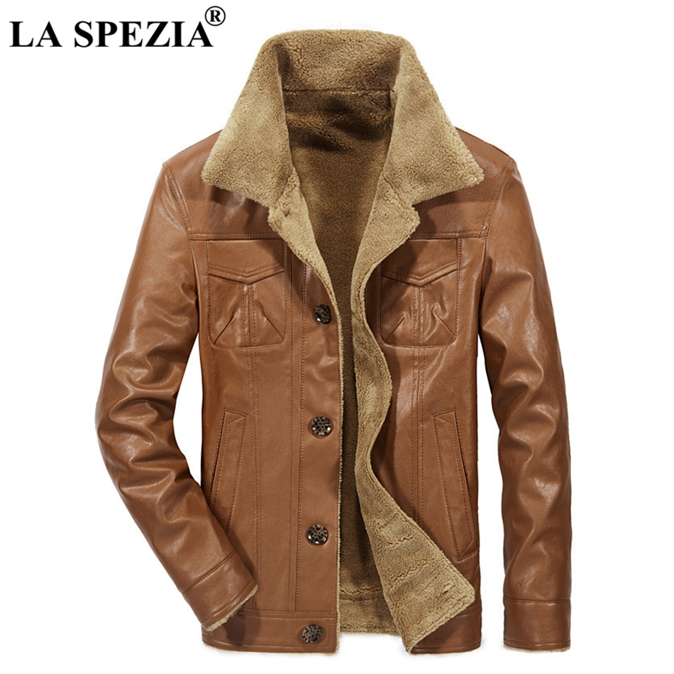 LA SPEZIA Winter Jacket Men Leather Brown Coat Fur Male Motorcycle Biker Slim Fit Warm Clothing With Pockets Men'S Jackets Black