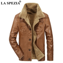 LA SPEZIA Winter Jacket Men Leather Brown Coat Fur Male Motorcycle Biker Slim Fit Warm Clothing With Pockets MenS Jackets Black
