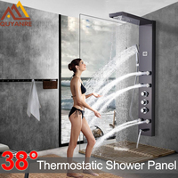 Black Nickel Rainfall Waterfall Shower Panel Massage Jets Shower Column Thermostatic Mixer Shower Faucet Tower Shower Tub Spout