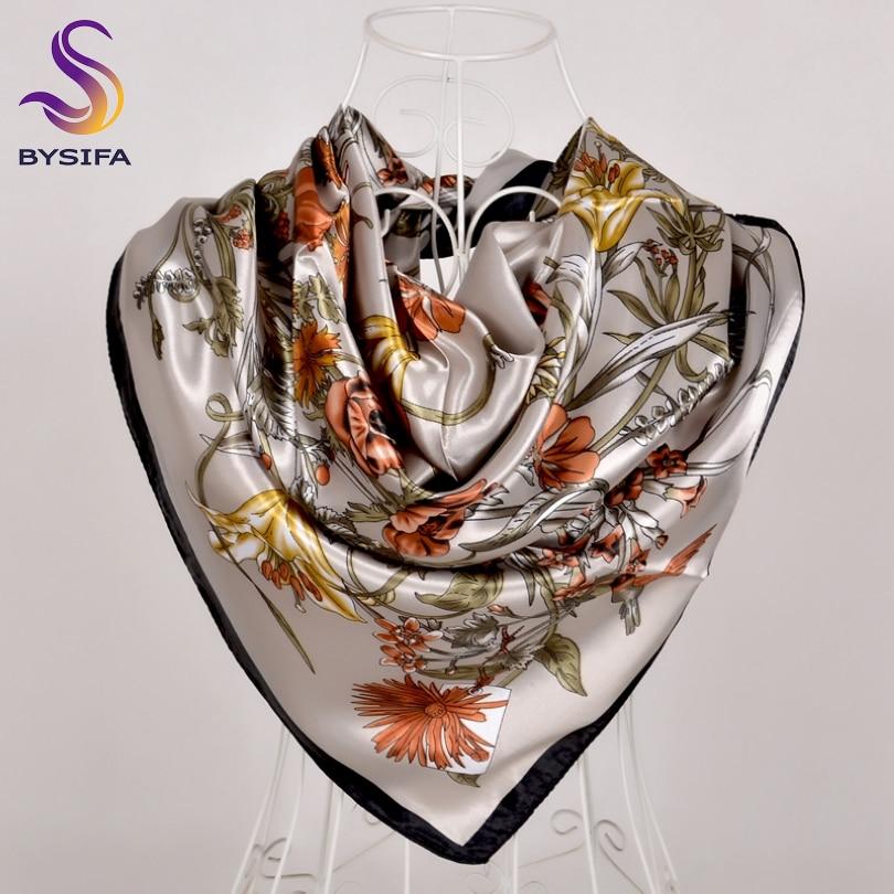 [BYSIFA] Army Green Ladies Square Scarves New Fashion Satin Women Silk Scarf Shawl 90*90cm Luxury Autumn Winter Scarves Wraps