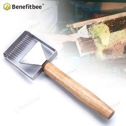 Benefitbee horquilla destapando de hierro de panal de miel raspador mango de madera de Apicultura herramienta Apicultura equipo horquilla destapando