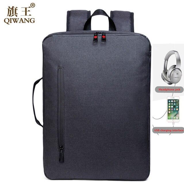 Qi Wang USB charging Men Large Capacity Laptop Backpacks