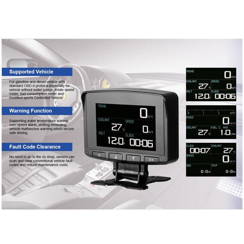 ATOOL X50 PRO HUD OBD2 Voiture D'affichage Speedmeter Vitesse Avertissement jauge de température de l'eau de Consommation de Carburant Auto Scanner