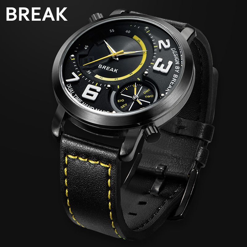 Break Nejlepší luxusní muži Sportovní oblečení Dual Time - Pánské hodinky