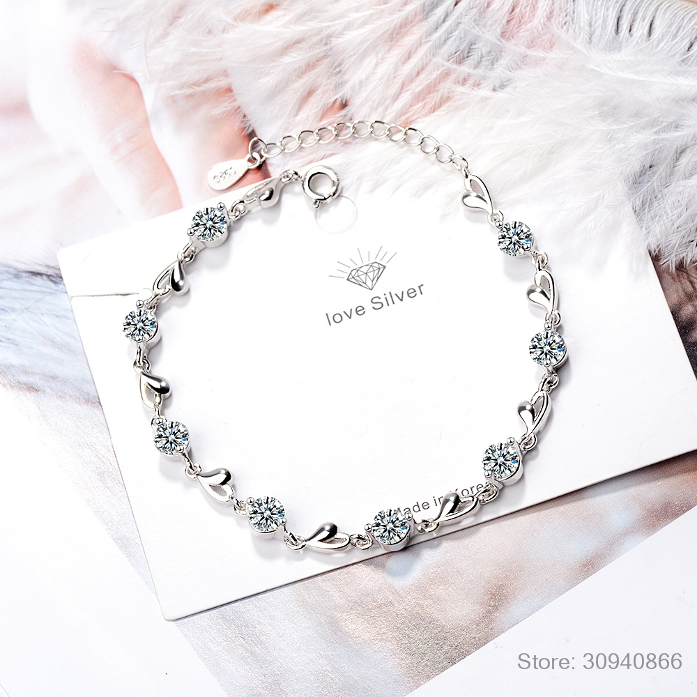 Delicate 925 Sterling Silver Zirconia Love Heart Shaped Bracelets For Women Valentines Gift Wedding Fine Jewelry S-B227
