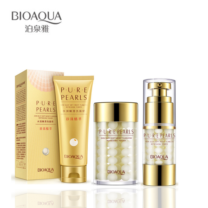 все цены на 3 Pcs BIOAQUA Pure Pearl Cleanser / Eye Cream / Facial Essence Mask Depth Replenishment Moisturizing Oil Control Facial Skin Set