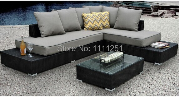 Soho Sectional Patio Sofa Table Furniture Porch Garden Pool Wicker And Sunbrella