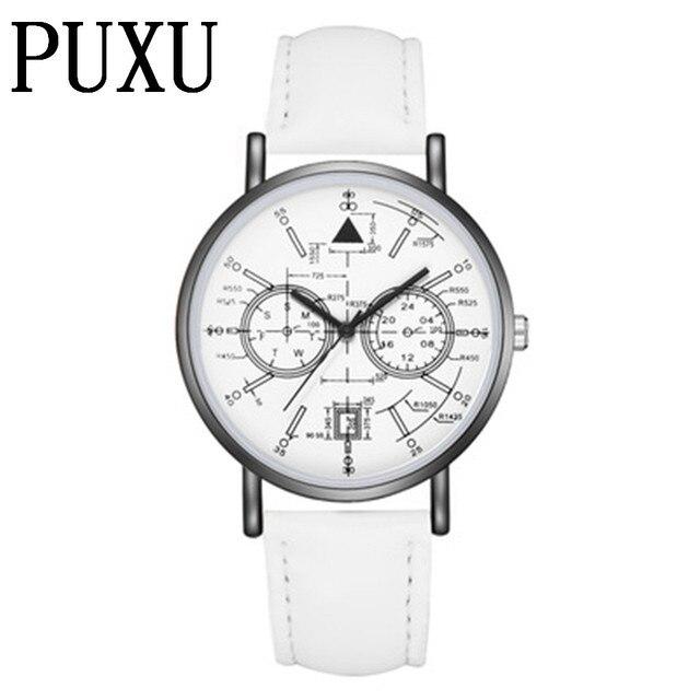 New Hot Fashion PUXU Brand Watch For Women Black Leather Watches Ladies  Casual Dress Quartz Wristwatch 8f5b5d7b954c