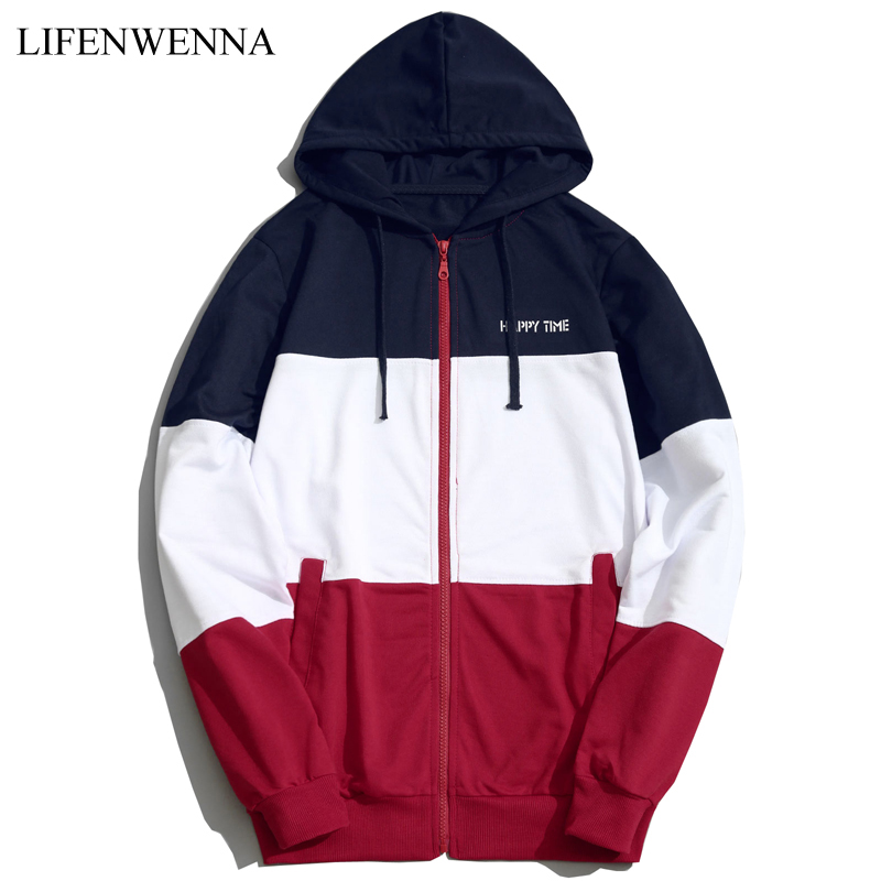 2018 Fashion Hoodies Men Sudaderas Hombre Hip Hop Mens Brand Patchwork Hooded Zipper Hoodie Cardigan Sweatshirt Men Hoody M-5XL