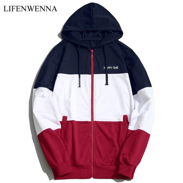 c2f1638a04 2019 Fashion Hoodies Men Sudaderas Hombre Hip Hop Mens Brand Patchwork  Hooded Zipper Hoodie Cardigan Sweatshirt Men Hoody M-5XL