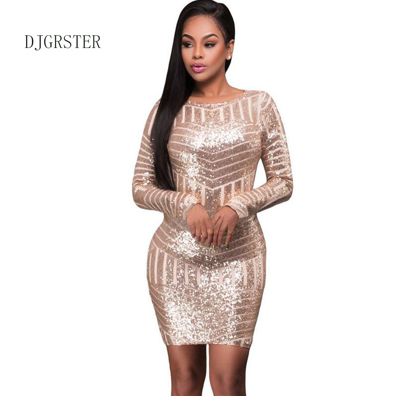 DJGRSTER Womens Pink Blue Sequin Dress New Dexy O-neck Backless Women Sundress Luxury Party Club Wear Mini Sequined Dress