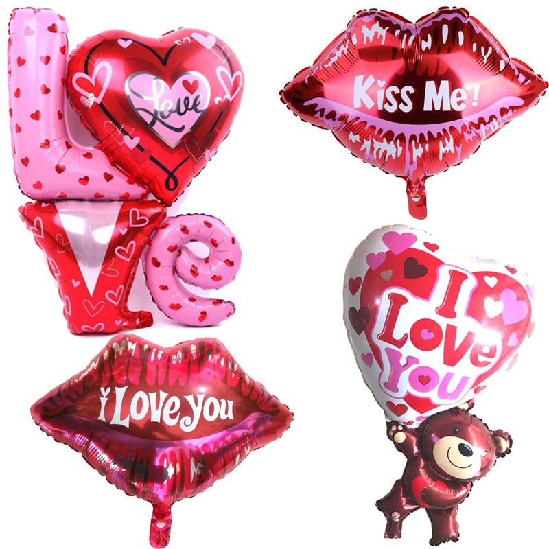 Хит продаж, 1 шт., с надписью «Love» с мишкой Тедди одежда красного цвета с надписью «Love» с поцелуем губ Love фольгированный шар ко Дню Святого Вал...
