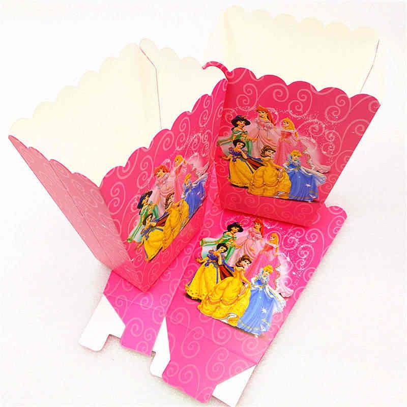 Disneyเจ้าหญิงหกTheme 99 ชิ้น/ล็อตบนโต๊ะอาหารเด็กตกแต่งถ้วยของขวัญกระเป๋าBlowout Popcornกล่องธงSupply