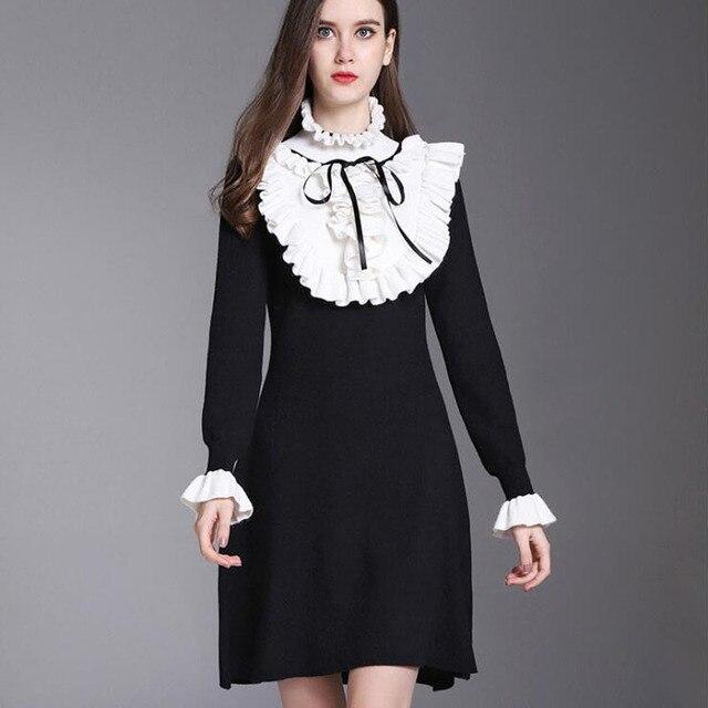d65bfcdaa3 2018 Winter England Style Vintage Turtleneck Knit Dress Ruffles Long Sleeve  Designer Sweater Patchwork Women Dresses OM224