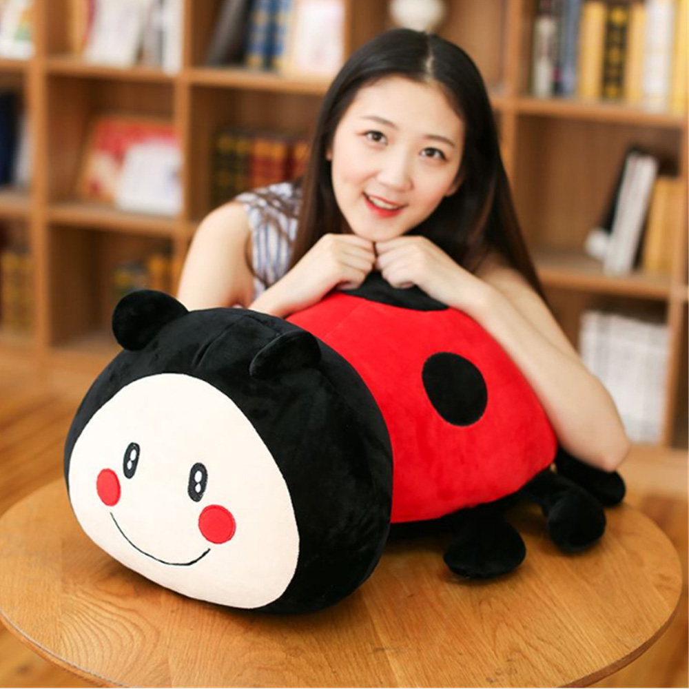 Fancytrader Anime 24'' / 60cm Giant Stuffed Lovely Plush Soft Red Ladybird Toy Black and Red Worm Pillow Doll Great Gift for Kid 50cm 85cm anime toy despicable me 3d eye large minion plush doll toy giant minions pelucia stuffed minion toy for children