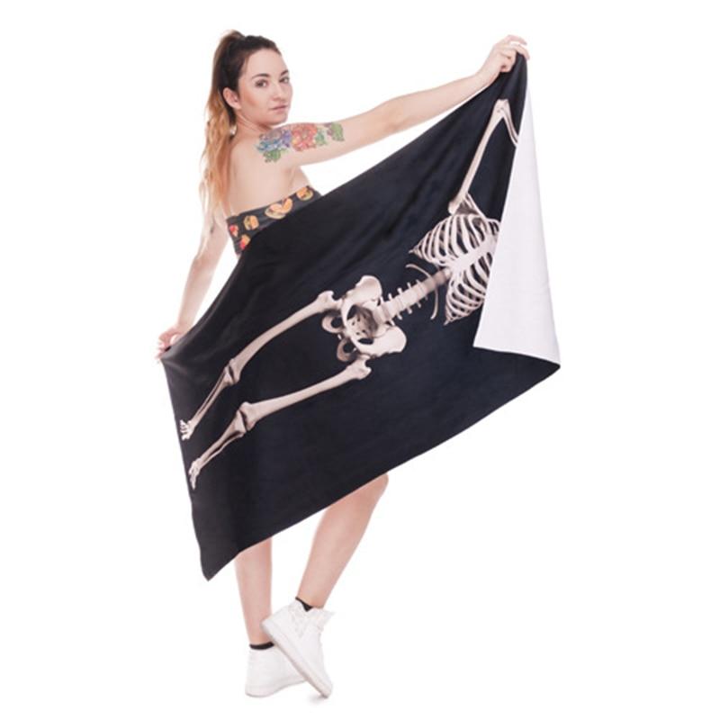 Fudiya 3D Digital Printed Human Skeleton Bath <font><b>Towel</b></font> Polyester Beach <font><b>Towel</b></font> Skull Shape Beach Pad Shawl Human Bones <font><b>Towel</b></font> 140x70CM