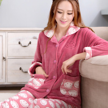 Winter coral fleece sleepwear female long-sleeve plus size women's thickening autumn and winter flannel lounge set