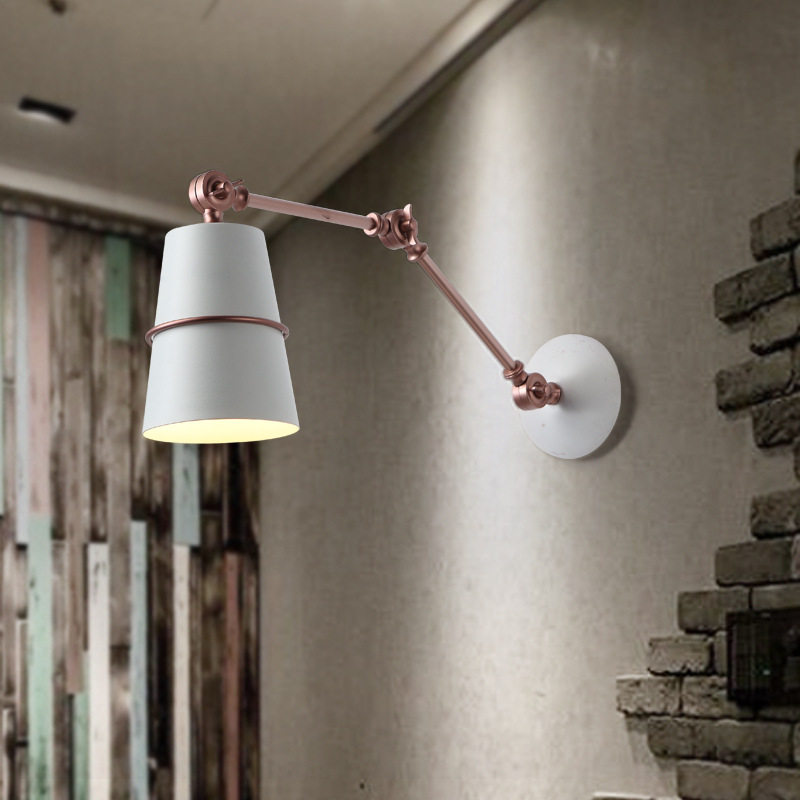Vintage industrial style loft creative minimalist long arm LED wall lamp adjustable Handle Metal Rustic Light Sconce Fixtures